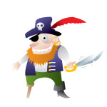 Vectorized pirate with mischief in his eyes
