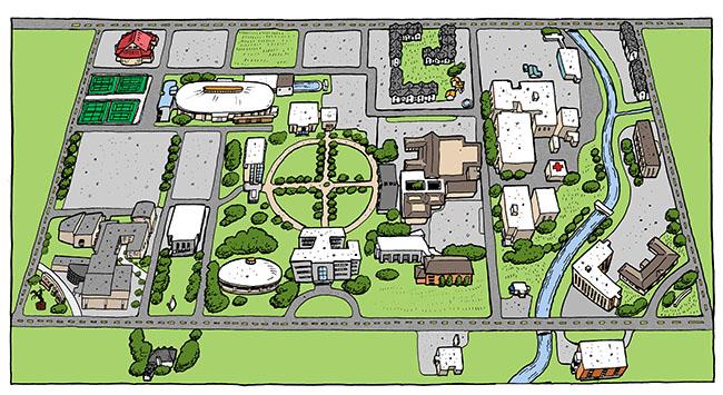 Cartoon map of McNeese State University